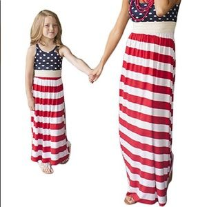 Mommy&me matching Red white&blue Maxi long dresses
